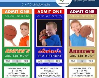 Sport Birthday Ticket Invitations - Custom Photo Invitation