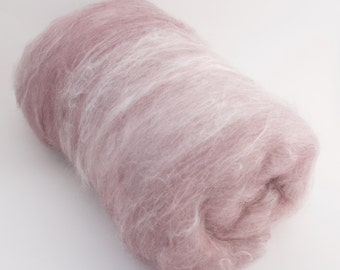 Antique Rose - 50/50 Micro-Farmed Angora/Organic BFL Wool 2oz Batt