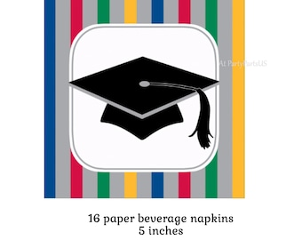 striped graduation cap beverage napkins, grad party decorations, Class of 2018, graduates, graduating class, paper tableware, nursing school