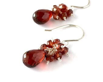 Red Garnet Gemstone Sterling Silver Earrings. Faceted Briolette Teardrop Gemstone Cluster Earrings. Valentines Day Red Gemstone Earrings