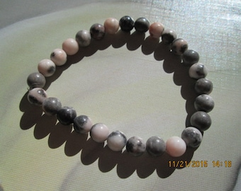 137 Pink zebra jasper handmade beaded bracelet