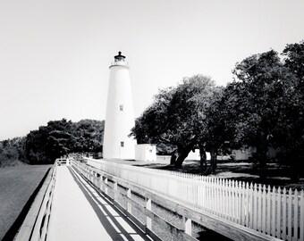 "Lighthouse Art, Black and White Photography, Ocracoke, Lighthouse, Fine Art Print, Nautical Decor, Outer Banks - ""Ocracoke Lighthouse"""
