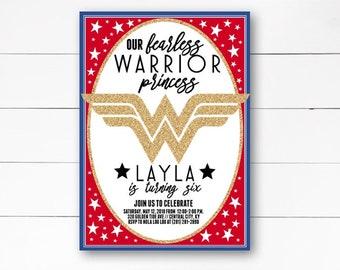Wonder Woman Invitation, Wonder Woman Birthday Invite, Superhero Invitation, Girl Birthday Invitation, GirlsSuperhero Birthday DIY/ Print
