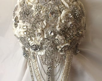 Brooch Bouquet, Silver Cascading Brooch Bouquets, Wedding Bouquet, Available In Any Color, Full Price 450 & Up, Reserve With A Deposit,
