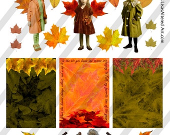 Digital Collage Sheet  Fall Images (Sheet no. O151) Png-Instant Download