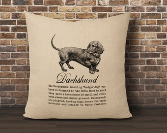 Dachshund Pillow Cover, Doxie Pillow, Dog Pillow, Faux Burlap pillow cover, Pillow 16x16 cover, Burlap pillow cover, Dachshund Dog Pillow