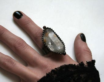 Extra Large Double Terminated Tibetan Quartz Crystal Ring // Tibetan Quartz Adjustable Ring
