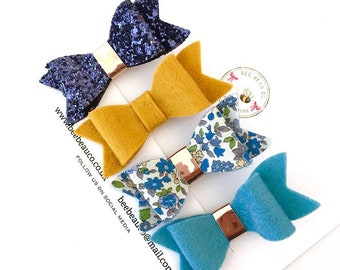 Navy and mustard hair bows, 'Lily collection' hair bow set, felt hair bow, girls hair bows, blue hair bow, hair clips, glitter hair bow