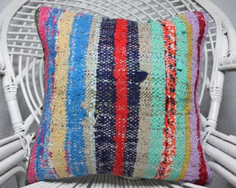 Bohemian Kilim Pillow Turkish Kilim Pillow 16x16 Decorative Kilim Pillow Throw Pillow Ethnic Pillow Vintage Kilim Pillow Cushion Cover 1344