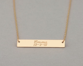 Gold Engravable Nameplate Necklace, Engraved Bar Necklace, Customized Name Bar Necklace, Personalized Gold Bar Necklace, Valentines Day