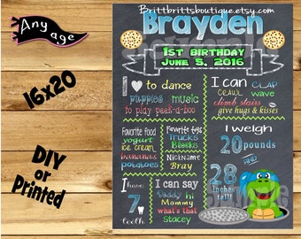 First Birthday Chalkboard sign 1st birthday cowabunga turtle chalk board photo prop customized first birthday poster digital file or printed