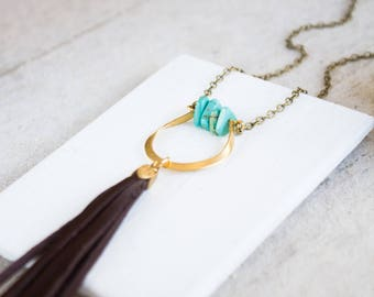 Long Turquoise and Brass Tassel Necklace, Brass Pendant Tassel Necklace, Half Moon Tassel Necklace, Bohemian Tassel Necklace, Boho Jewelry