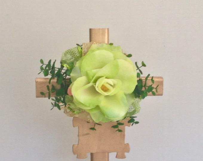Cemetery cross, personalized memorial, grave decoration, memorial cross, Floral Memorial, grave marker, in memory of