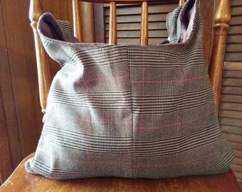 Handmade reversible hobo bag made from recycled material