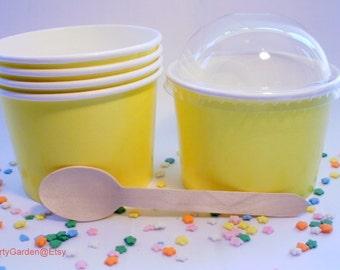 50 Yellow Ice Cream Cups - Large 16 oz