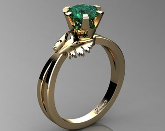Swan 14K Yellow Gold 1.0 Ct Emerald Fairy Engagement Ring R1030-14KYGEM