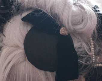 Silk Dupion Fascinator with Velvet Bow and Heart Trim