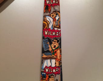Flintstones Necktie / Vintage Tie  by Hanna Barbara / Silk Designer Tie / Mens Clothing Accessories
