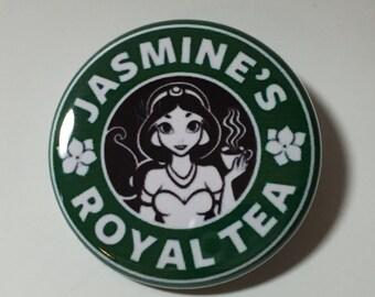 Jasmine's Royal Tea Disney Starbucks Coffee Style  Pin Badge Button