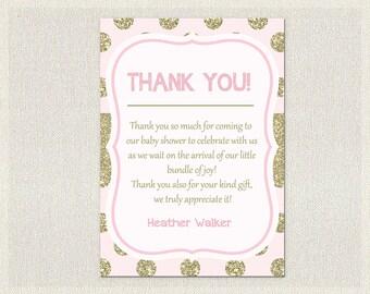 Glitter Baby Shower Thank You Card Glitter Gold Pink Thank You Note Girl Thank  You Card