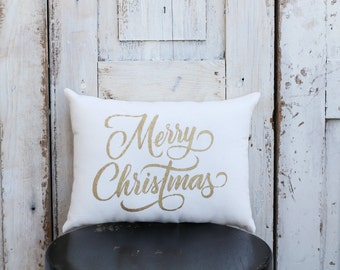 Merry Christmas Pillow Decor Pillow GOLD pillow 15x10 accent pillow Holiday pillow