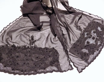 1990s Sheer Black Scarf Rectangular Lace Applique Beaded Scalloped Edge