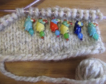 Colorful Cute Multi-colored Toucan Ceramic and Czech Glass Knitting/Crochet Stitch Markers