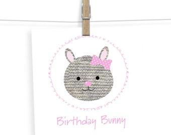 Birthday Card For Her - Baby Girl Birthday Card - Bunny Birthday Card - Kids Birthday Card - Happy birthday Card - Girl Birthday Card
