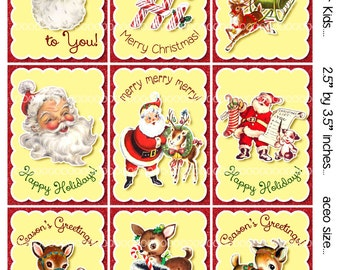 Digital Clipart, instant download, Vintage Christmas Cards or Tags for Kids--Santa Claus, Reindeer--8.5 by 11--Digital Collage Sheet 1921