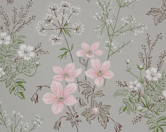 1950s Vintage Wallpaper Pink and White Bouquets on Gray by the Yard