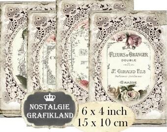 French Perfume Labels digital Eau de Cologne printable Cards 6x4 inch Download digital collage sheet D148