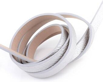 1.15 m lace silver flat 10mm faux metallic leather strap