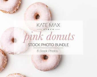 Pink Donuts Stock Photo Bundle / Styled Stock Photos / 8 KateMaxStock Branding Images for Your Business