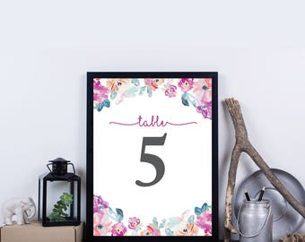 Printable Wedding Table Numbers, Floral Table Numbers for Wedding, Party Table Numbers, Instant Download Table Numbers - Harper