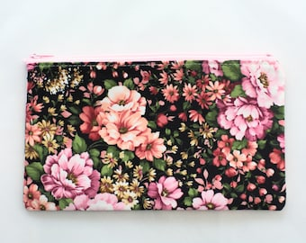 Zipper Pouch | Toiletry Bag | Zipper Bag | Floral Makeup Bag | Jewelry Bag | Travel Case | Gifts for Her | School Supplies | Gifts under 10