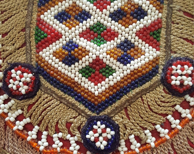 On Sale - Vintage Handmade Beaded and Textile Piece Panel for Bag or Clothing Tribal? Crafts Fiber Art