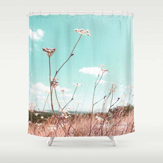 Hungarian Wild Flowers Shower Curtain, Flower Bathroom, Ocen Blue Sky Home Decor, Teal Blue, Nature Home Decor, Whimsical, Surf, Countryside