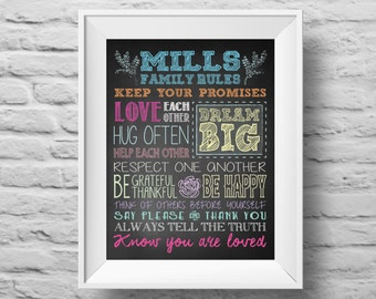 FAMILY RULES unframed art print Typographic poster, inspirational print, custom wall decor, family, quote art. (R&R0042)