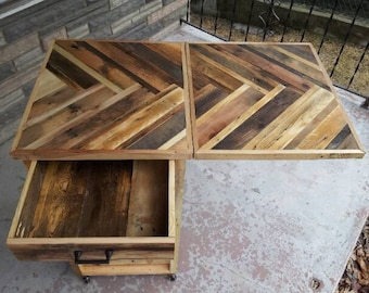 Kitchen Cart Handmade From Shipping Pallets With A TreeBone Herringbone Pattern With Drop Leaf And Drawer (Local Delivery Only)