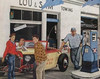 "1960 ""Gas Money"" - Saturday Evening Post Cover Art - George Hughes - Teenage Boys at Gas Station Pump - Funny Art Print"
