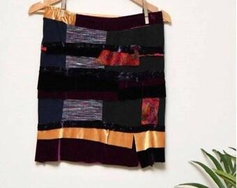 Velvet and Cotton Knit Layered Scrap Skirt // Medium // Upcycled Handmade Skirt