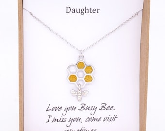 Honey bee on honeycomb necklace, bumble bee charm, bee keeper, cute bee, busy as bees, girlfriend bestie, topaz honey bee, meant to bee