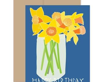Happy Birthday Daffodil Card, Flower Celebration Card, Birthday Flower Card, Yellow Flower Card