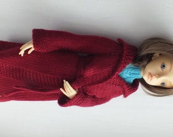 Handmade knitted wool  cardigan for Doll Chateau Kid and any MSD doll dark red