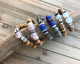 Tribal Bracelet Stack / Stackable Bracelets / African Beads Bracelet Stack / Boho Beaded Bracelet