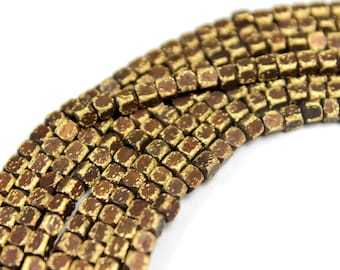 140 pcs - 4.6mm x 3.3mm Brass Oxide Cube Beads - Brass Cube Beads - 28inch Full strand - Cube Beads [ L ]