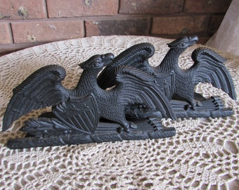 Vintage Cast Iron Eagle Bookends by VA Metal Crafters 1952.