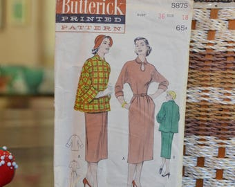 """Butterick 5875 - 1950's Casual Dress And Jacket Ensemble Sewing Pattern  Size 18, Bust 36"""",  1951, 17 Pieces"""