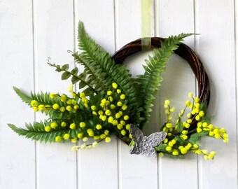 Mimosa wreath, spring porch decor, spring Easter wreath, made in Italy spring wreath, Easter porch decor, Italian mimosa Women's Day decor