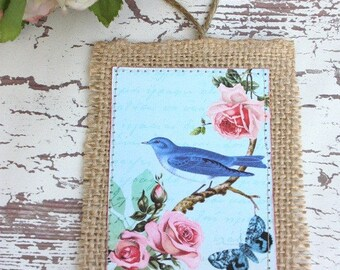 Buralp hang tag set with birds and cottage roses,shabby chic